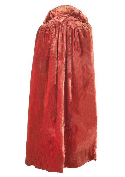 Vintage 1920s Tangerine Silk Velvet & Lame Cape - New!