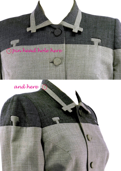 Couture 1940s Charcoal Lilli Ann Fine Weave Wool Suit - New!