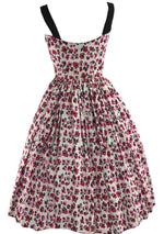 Gorgeous 1950s Pink Poppies Cotton Dress- New!