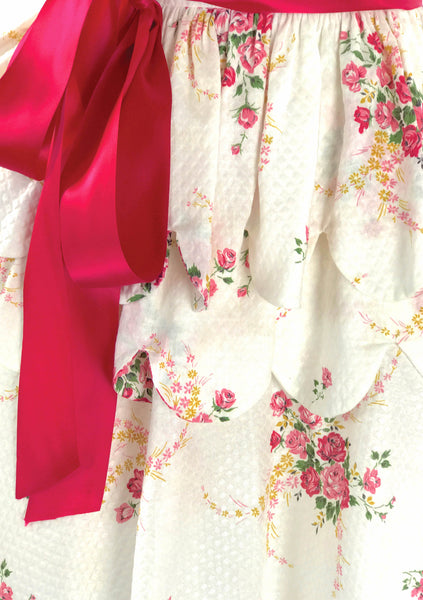 Vintage 1950s Pink Roses Bouquet Pique Dress  - New!