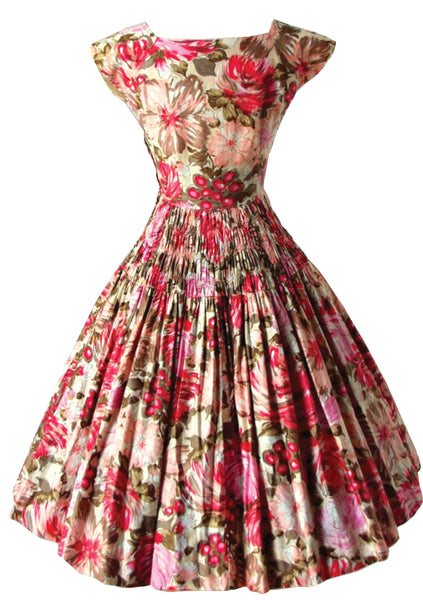 Vintage 1950s Berries and Flowers Cotton Dress- New!