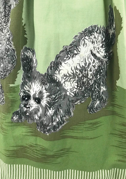 Rare Vintage 1950s Poodle Print Cotton Novelty Dress- New!