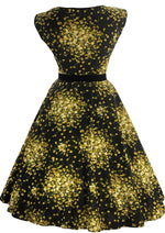 Vintage 1950s Black Cotton with Golden Sprays- New!