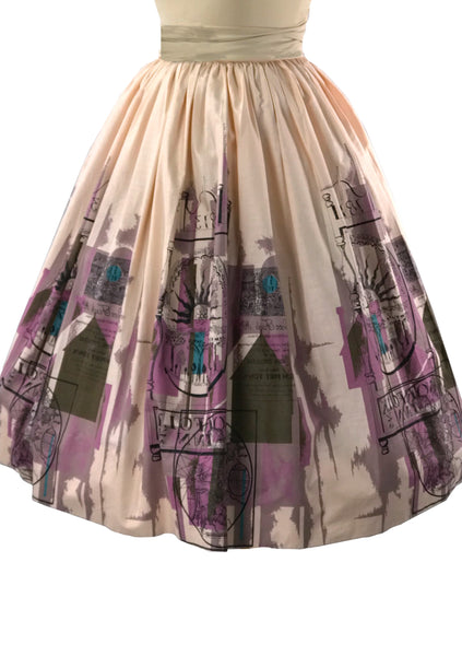 Vintage 1950s Scenic Print Shell Pink Cotton Skirt - New!