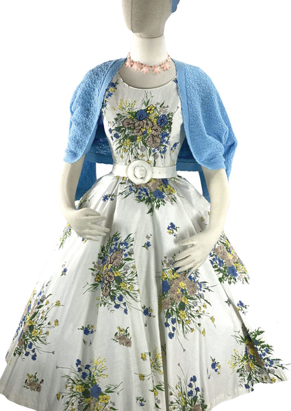 Vintage 1950s 3D Trapunto Floral Bouquet Dress- New!