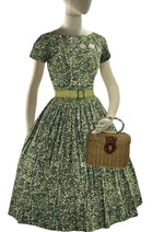 Vintage 1950s Green Floral Scrollwork Cotton Dress - New!