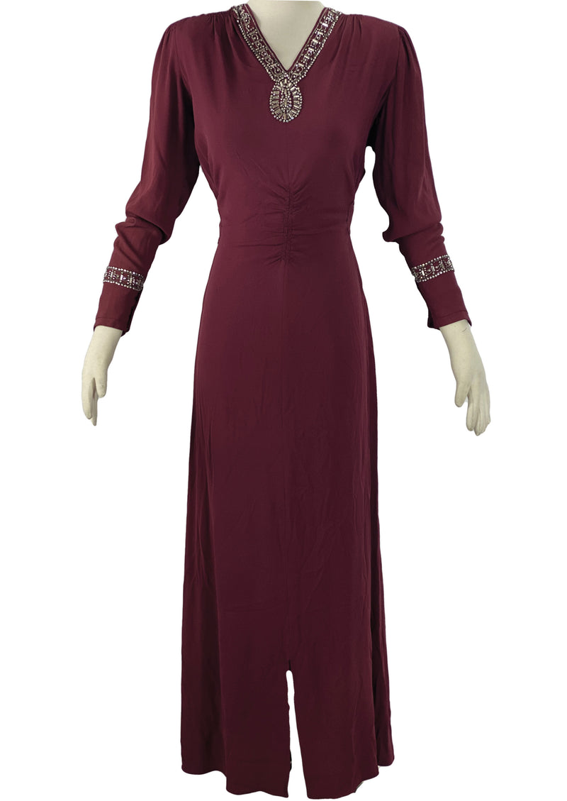 Stylish 1940s Burgundy Crepe Gown with Rhinestones and Beads- New!