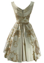 1950s Cream Silk Satin Ceil Chapman Designer Cocktail Party Dress- New!
