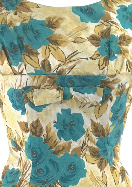 Lovely 1950s Turquoise Roses Cotton Dress- New!