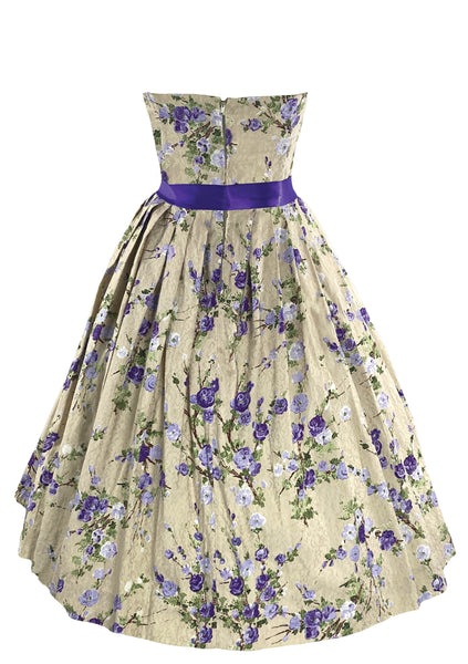 1950s Strapless Purple Floral Print Party Dress- New!
