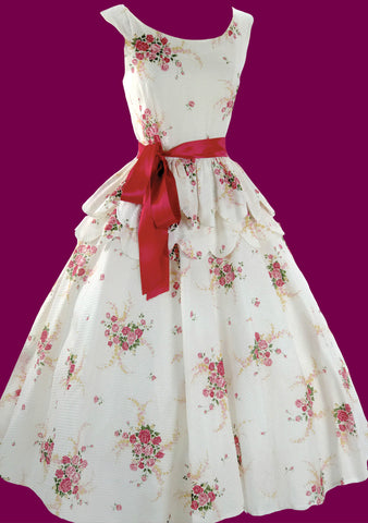 1950s Pink Roses Bouquet Pique Dress  - SOLD