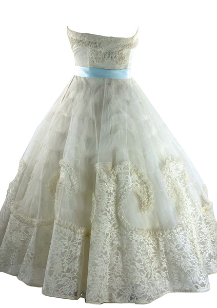 Late 1950s Ivory Tulle & Lace Party Dress  - New!