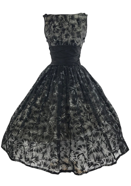 Vintage 1950s Black/Gray Flocked Chiffon Party Dress - New!