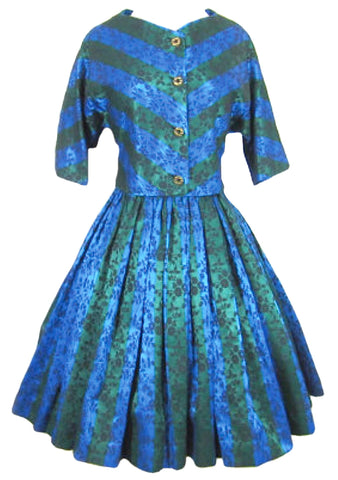 Early 1960s Blue Green Brocade Dress Suit - New!