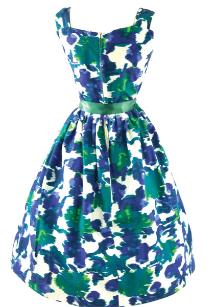 Vintage 1950s Blue Green Abstract Pique Cotton Dress - New!