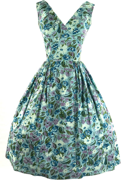 Vintage 1950s Blue Cotton Floral Dress - New!