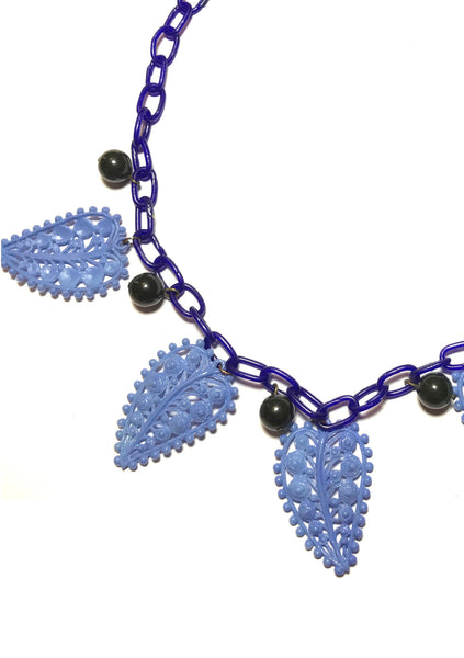 1940s Bakelite Cherries & Blue Celluloid Leaves Necklace - New!