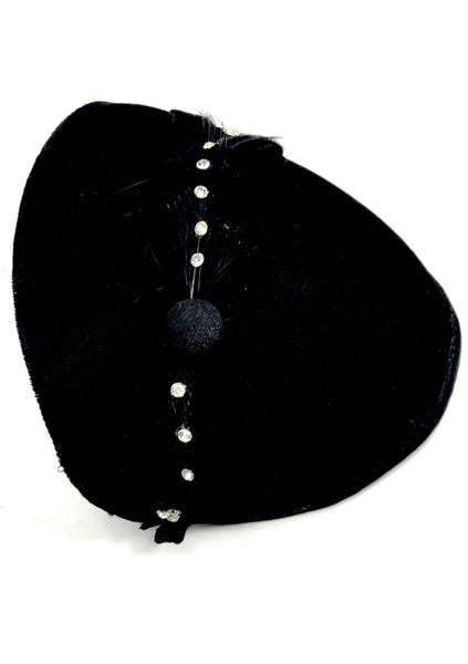 Vintage 1950s Black Velvet Cocktail Hat - New!