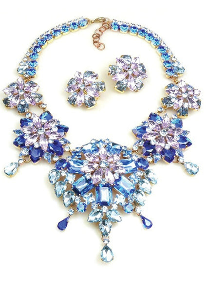 Blue Sapphire Glass Necklace & Earrings Set - New