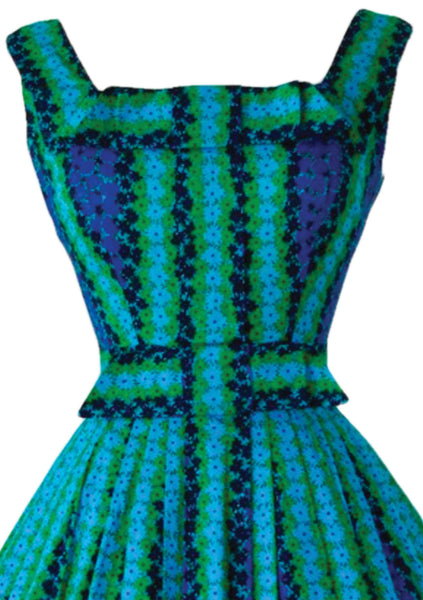 1950s Blue Green Cotton Day Dress - New!