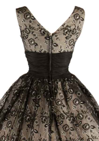 Gorgeous 1950s Black & Bronze Flocked Party Dress - New!