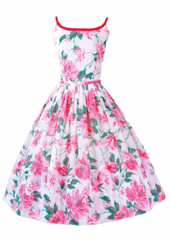 1950s Pink Cabbage Roses Dress Ensemble - New