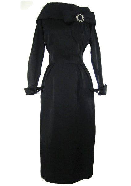 Vintage Couture 1950s Black Lilli Ann Party Dress