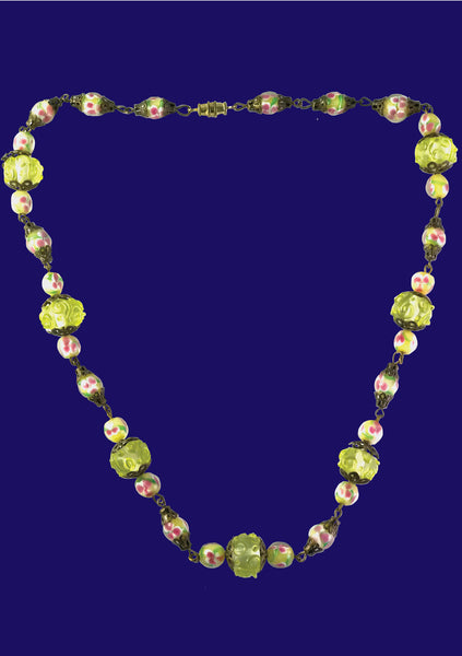 Glorious 1930s Art Deco Lampwork Bead Necklace - New!