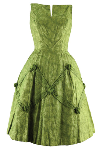 Vintage 1950s Moss Green Embroidered Party Dress