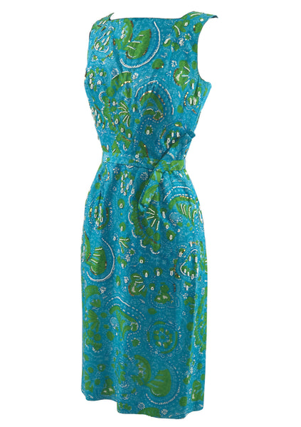 Vintage 1950s Blue Swirl Cotton Dress with Beads- New!
