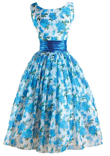 1950s Blue Roses Chiffon Party Dress - New!