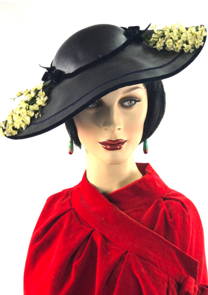 Vintage Late 1940s Black Straw Moulded Elongated Platter Hat - New!