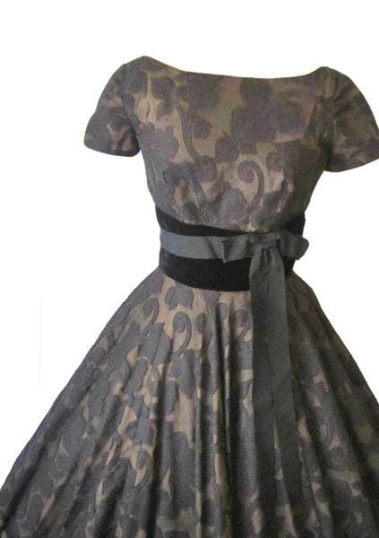 Vintage 1950s Black & Bronze Floral Voile Dress - New!