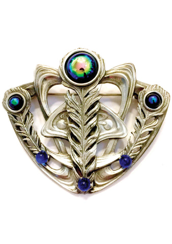Antique 1900s Art Nouveau Silver Metal Brooch - New!