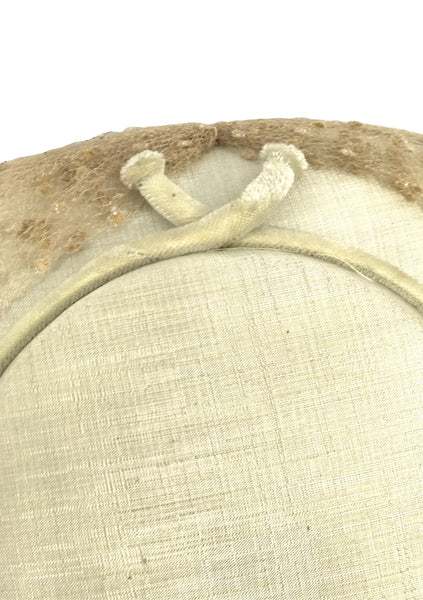 Vintage 1950s Ivory Cream Silk Platter Hat - New!