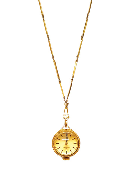 Vintage 1960s Bucherer Gold Filled Pendant Watch - New!