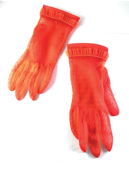 Vintage 1950s Tangerine Nylon Gloves - New!