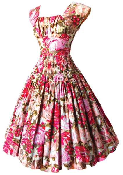 Vintage 1950s Pink Floral Polished Cotton Day Dress