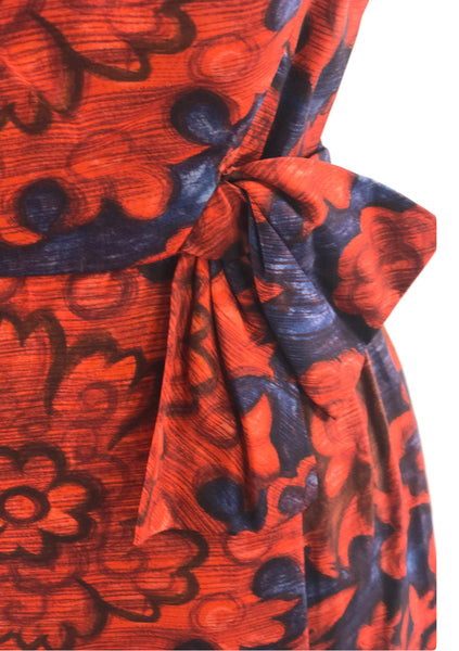 Vintage 1950s Graphic Red Chrysanthemums Silk Dress - New! (on hold)