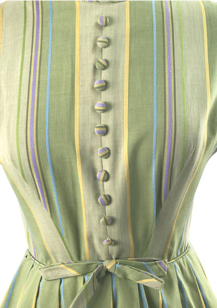 Vintage Early 1960's Sage Green Striped Cotton Day Dress - New!