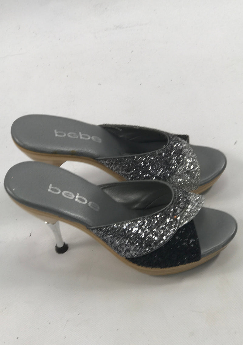 Vintage 1980s Silver and Black Glitter Polly Style Shoes - New!