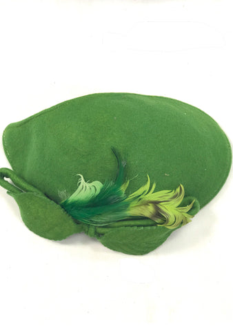 Charming Vintage 1950s Pea Green Wool Hat - New!