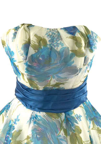 1950s Blue Rose Print Chiffon Party Dress - New!