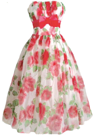 Vintage 1950s Bright Pink Cabbage Roses Party Dress