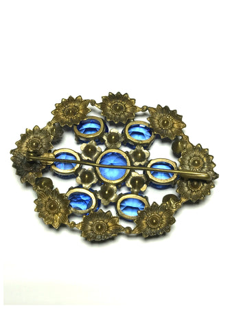 Vintage 1930s Art Deco Czech Sapphire Blue Glass Brooch - New!