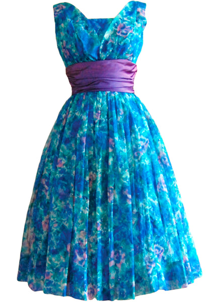 Vintage 1950s Blue Floral Party Dress - New!