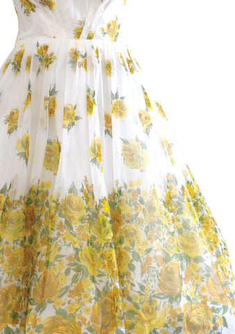 Late 1950s- Early 1960s Yellow Roses Chiffon Party Dress - New!