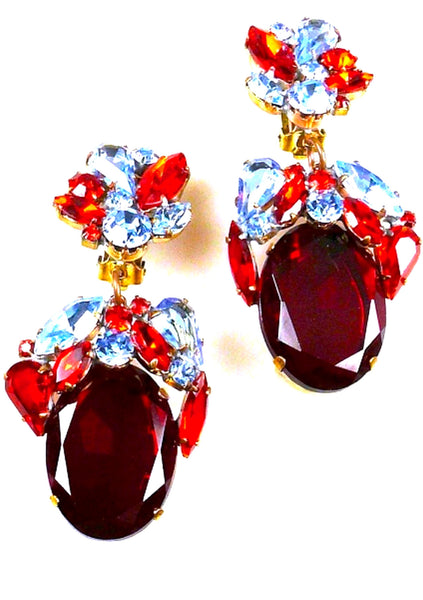 Lovely Czech Ruby Red and Blue Sapphire Crystal Earrings - New!