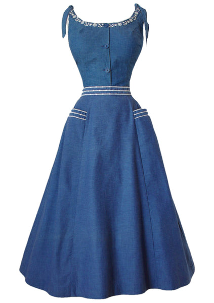 Rare 1940s Blue Chambray Dress & Jacket Ensemble - New!