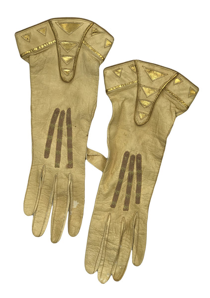 Rare Antique 1920s Gold Gauntlet Kid Gloves with Gilt Trim